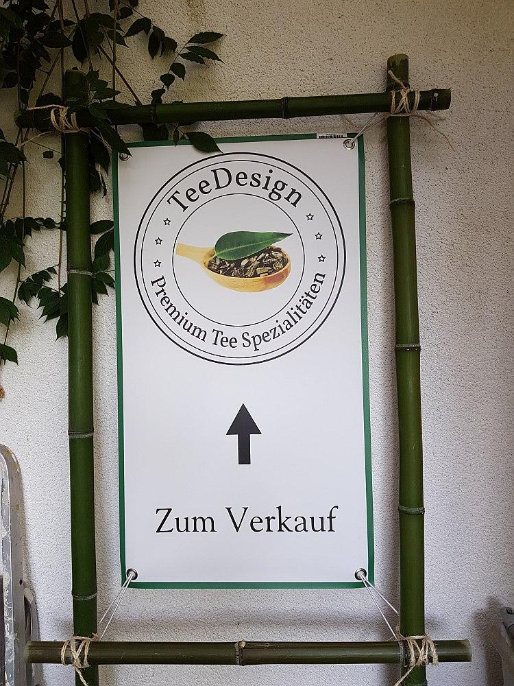 Hier gehts zu unserem Lagerverkauf von TeeDesign. Schild am Aussichtsweg